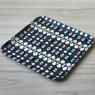 型染紙の角皿(菱つなぎ文様 青)