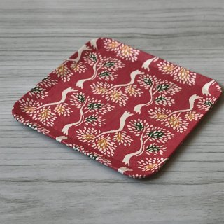 型染紙の角皿(立樹文 ピンク)