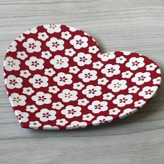 型染紙のハートトレイ(梅づくし)