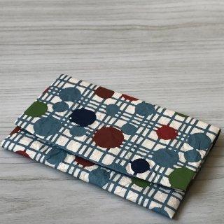 型染紙のカードケース(水玉格子 青)