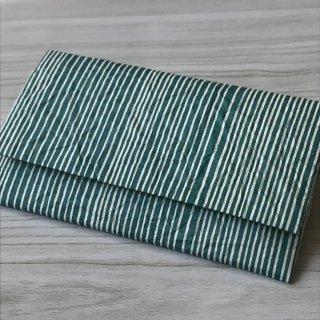 型染紙の懐紙入れ(縦縞 青)