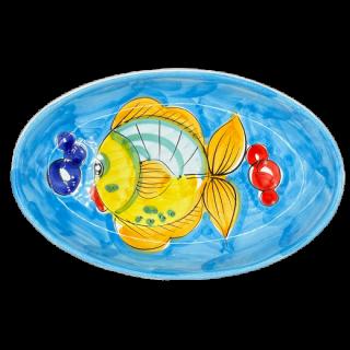 Ovale 27cm -魚B- (スカイブルー)