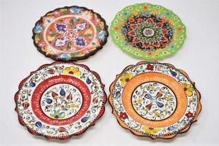 キュタフヤ陶器の絵皿【チューリップ/カーネーション】/トルコ雑貨