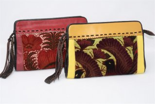 手刺繍本革ポーチ【鳥・花】/ショルダー2way/セカンドバッグ/タイ雑貨/エスニックファッション