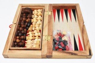 チェス&バックギャモン・Lサイズ【木製ゲーム】/Chess/Backgammon/折り畳み式/タイ雑貨