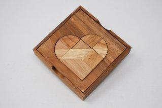 ハートパズル【木製パズル】/シルエットパズル/木製ゲーム/タイ雑貨