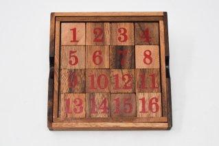 15パズル【木製パズル】/34ゲーム/魔法陣/Sliding_puzzle/木製ゲーム/タイ雑貨