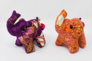 ゾウぬいぐるみ・Mサイズ【濃紫・薄橙】/ドール/Stuffed_Elephant/タイ雑貨