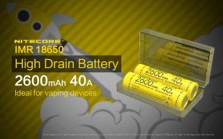 NITECORE製 IMR 18650 BATTERY 2600mAh