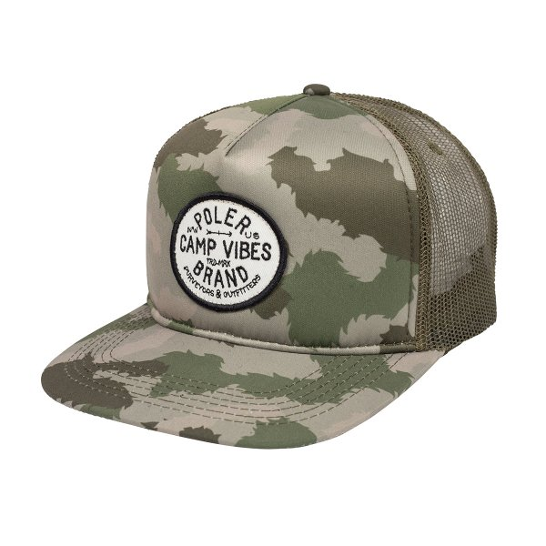 CAMP VIBES BRAND TRUCKER - GREEN FURRY CAMO