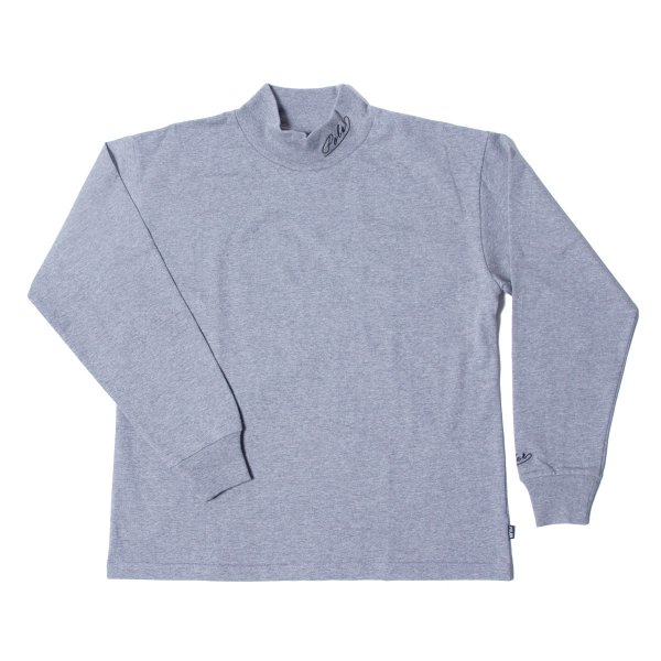 90'S ARROWFONT EMB MOCK NECK - GRAY HEATHER