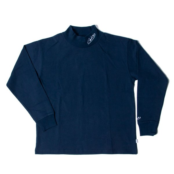 90'S ARROWFONT EMB MOCK NECK - NAVY