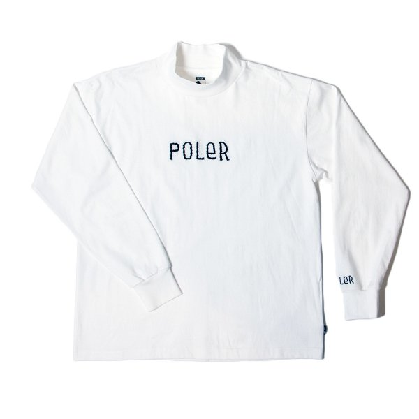 90'S FURRYFONT EMB MOCK NECK - OFF WHITE