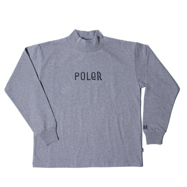 90'S FURRYFONT EMB MOCK NECK - GRAY HEATHER