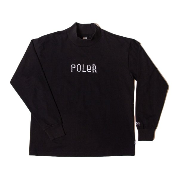 90'S FURRYFONT EMB MOCK NECK - BLACK