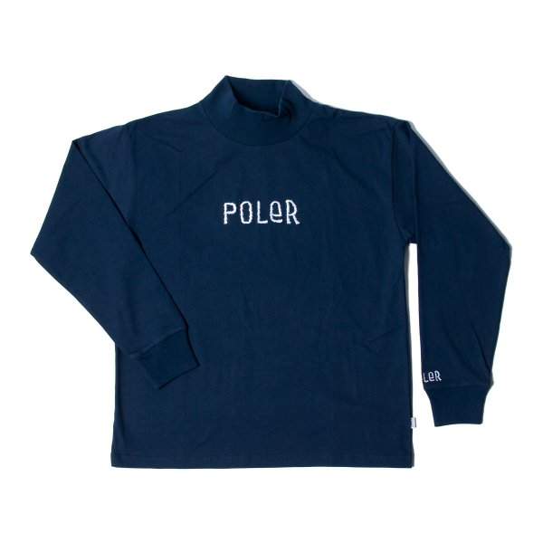 90'S FURRYFONT EMB MOCK NECK - NAVY