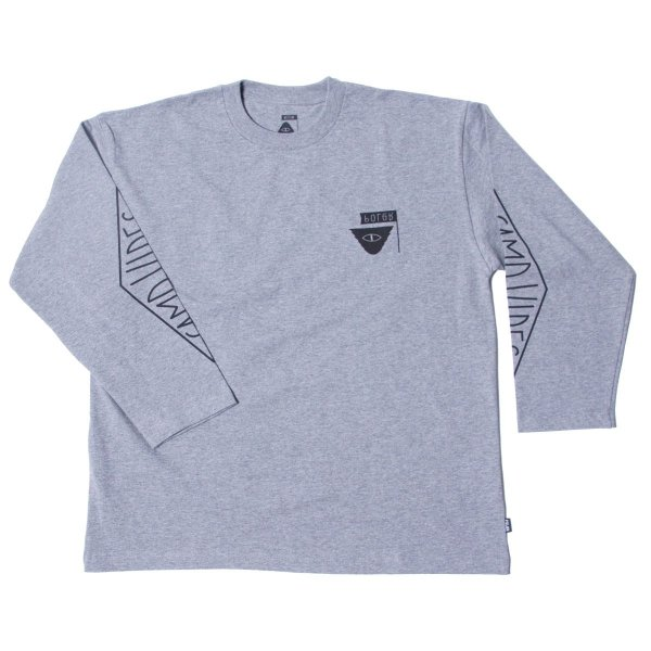 REVERSE SUMMIT-CAMPVIBES  JERSEY  L/S TEE - GRAY HEATHER