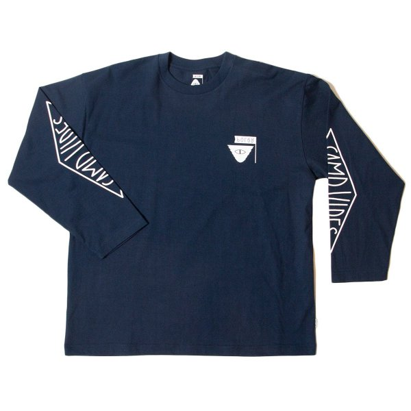 REVERSE SUMMIT-CAMPVIBES  JERSEY  L/S TEE - NAVY