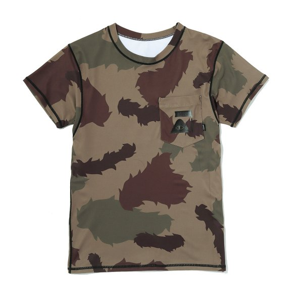 SUMMIT RUSH GUARD S/S TEE  - OLIVE FURRY CAMO