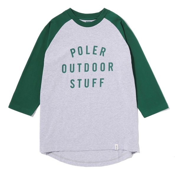 7/10 POS RAGLAN TEE - GREEN/HEATHER GRAY