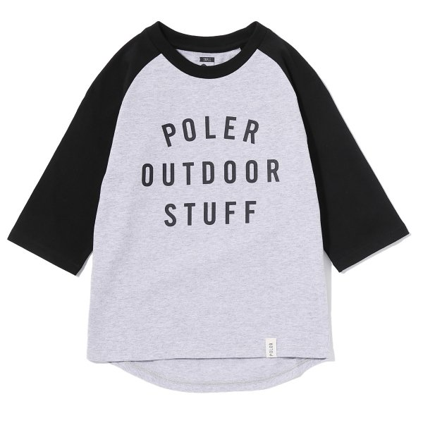 KIDS 7/10 POS RAGLAN TEE - BLACK/HEATHER GREY