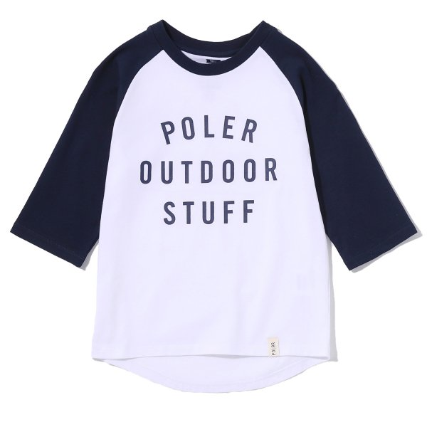 KIDS 7/10 POS RAGLAN TEE - NAVY/WHITE