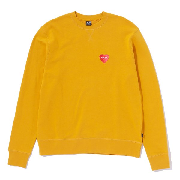 FURRY HEART EMBROIDERED CREW - MUSTARD