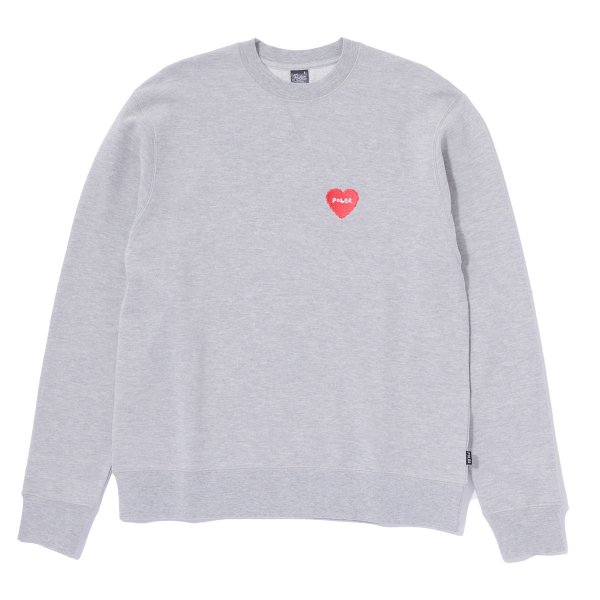 FURRY HEART EMBROIDERED CREW - GREY HEATHER