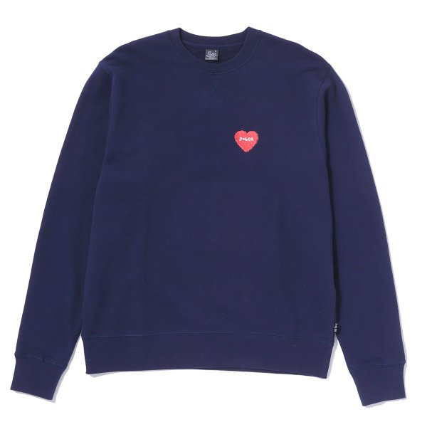 FURRY HEART EMBROIDERED CREW - NAVY