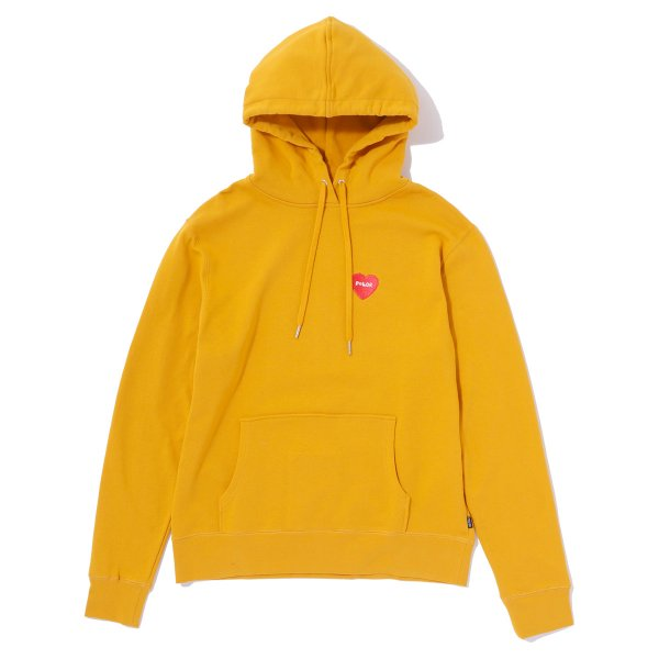 FURRY HEART EMBROIDERED HOODIE - MUSTARD