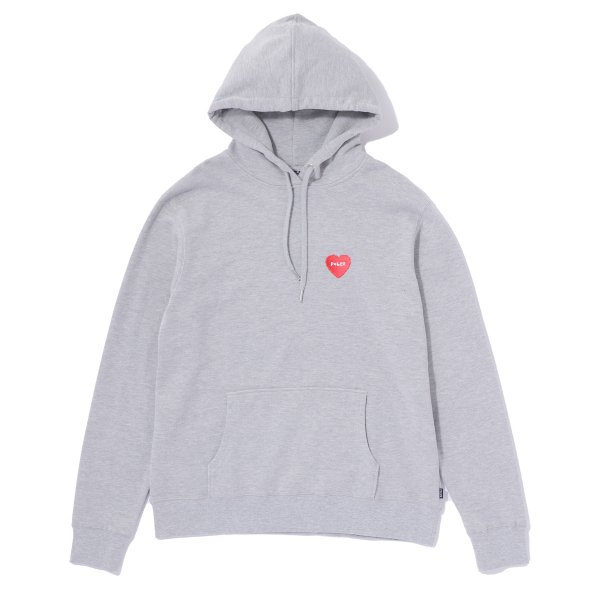 FURRY HEART EMBROIDERED HOODIE - GREY HEATHER