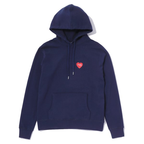 FURRY HEART EMBROIDERED HOODIE - NAVY