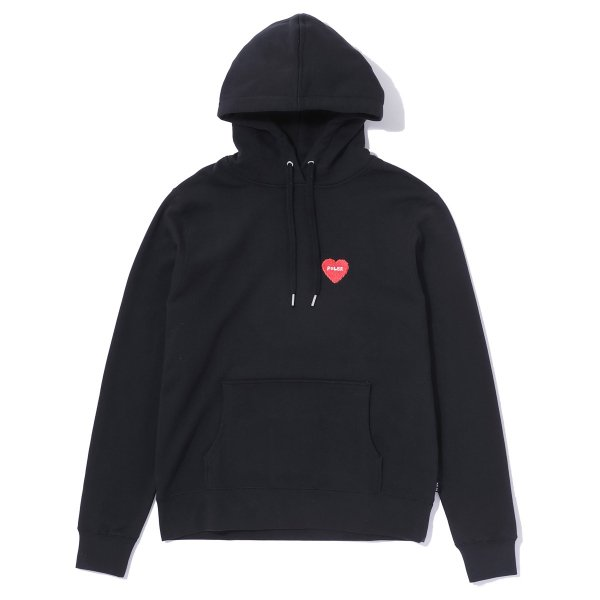 FURRY HEART EMBROIDERED HOODIE - BLACK