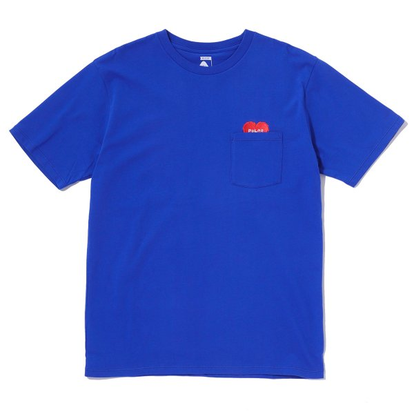 RISING HEART EMBROIDERY POCKET TEE - ROYAL BLUE