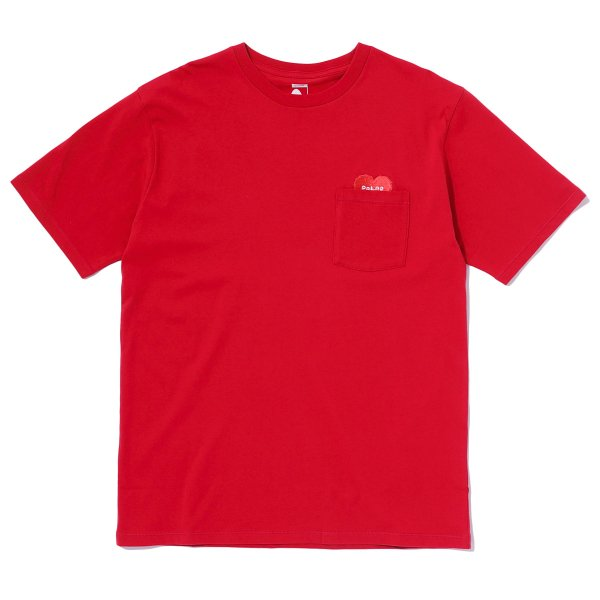 RISING HEART EMBROIDERY POCKET TEE - RED
