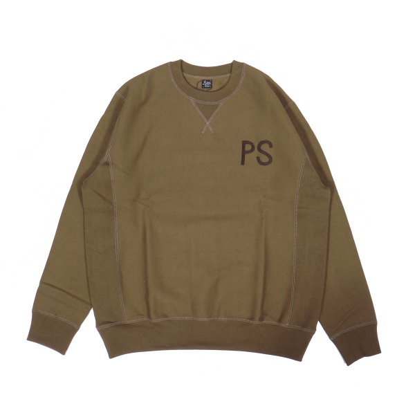 ELBOW PATCH HEAVY CREW NECK - OLIVE