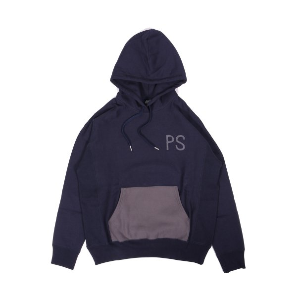 ELBOW PATCH HEAVY HOODIE - NAVY