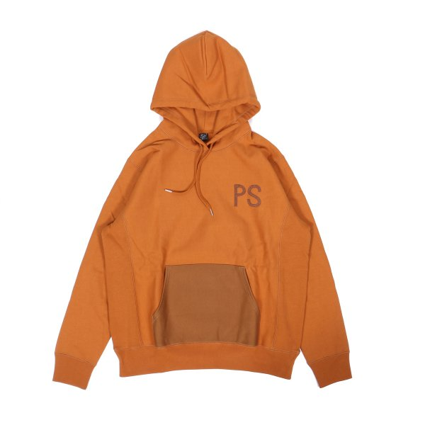 ELBOW PATCH HEAVY HOODIE - CARAMEL
