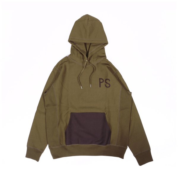 ELBOW PATCH HEAVY HOODIE - OLIVE