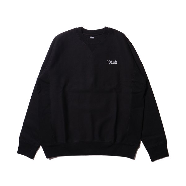 FURRY FONT EMB HEAVY CREW NECK - BLACK