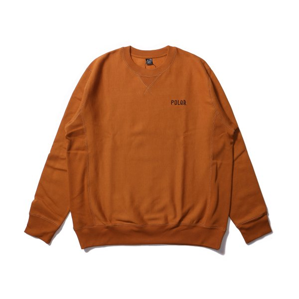 FURRY FONT EMB HEAVY CREW NECK - CARAMEL