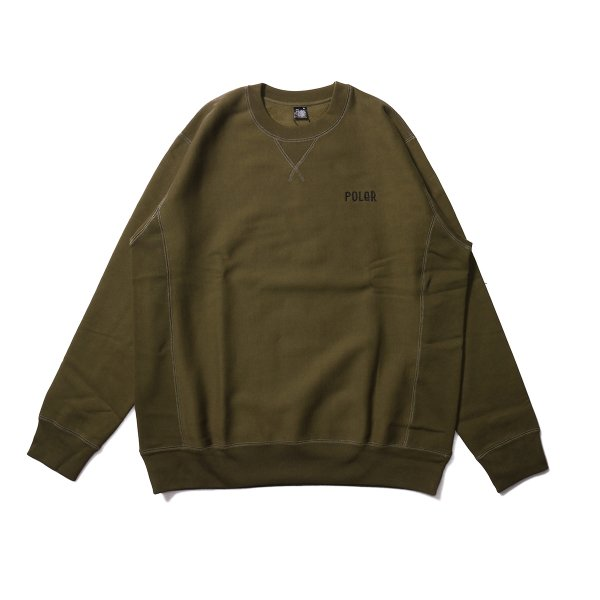 FURRY FONT EMB HEAVY CREW NECK - OLIVE