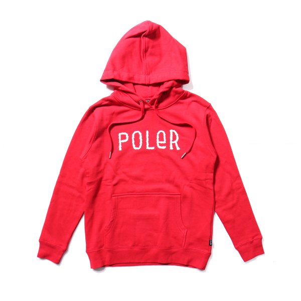 KIDS FURRY FONT HOODIE - DARK RED