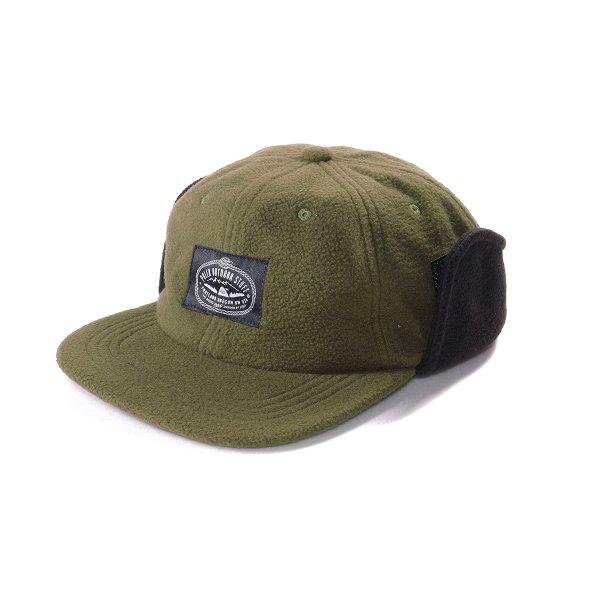 MILITARY FLEECE EARFLAP CAP - OLIVE/BLACK