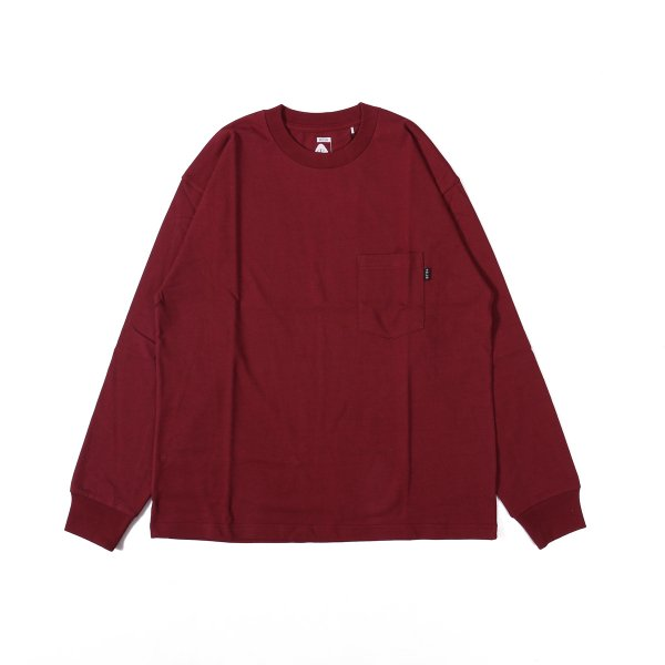 90'S HEAVY WEIGHT POCKET L/S TEE - CORDOVAN