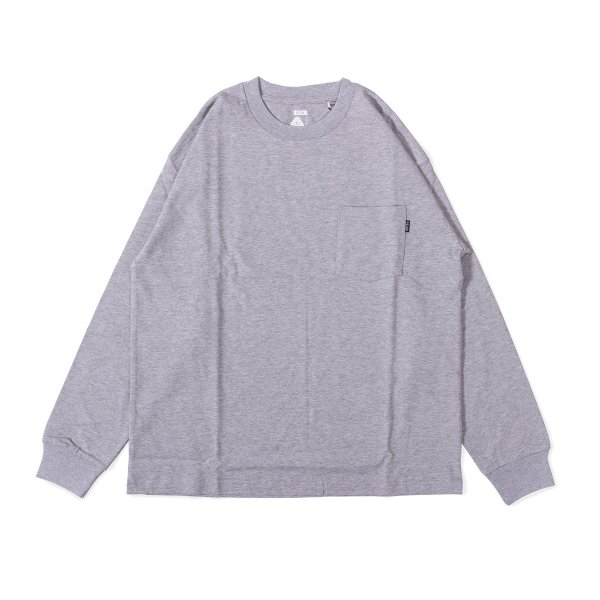 90'S HEAVY WEIGHT POCKET L/S TEE - HEATHER GRAY