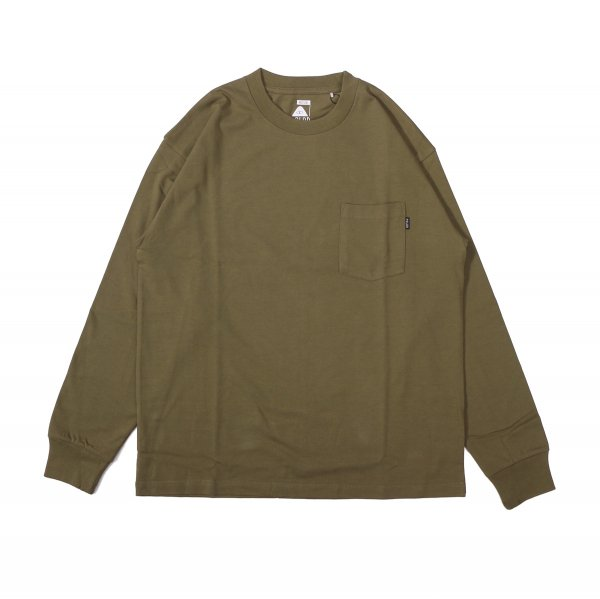 90'S HEAVY WEIGHT POCKET L/S TEE - OLIVE