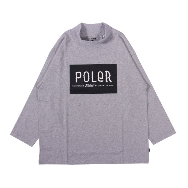 8/10 FURRY FONT BOX MOCK TEE - HEATHER GRAY