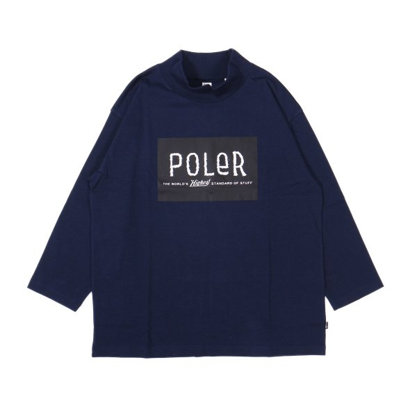8/10 FURRY FONT BOX MOCK TEE - NAVY