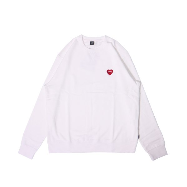 FURRY HEART EMB CREW - WHITE